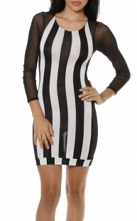 Women Black and White Striped Mesh Side Insert Long Sleeve Stretch Fitted Dress