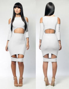 White Long Sleeve Sexy Bodycon party Dress for Women