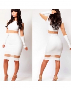 White Color-blocked Long Sleeve With Cuticolor Mesh Accents Bodycon Dress