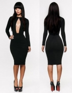 Sexy Long Sleeve Black Front Cut Out Bodycon Midi Dress