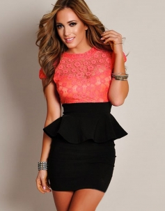 Coral Red Lace Floral Printed  Black Tunic Women Fashion Peplum Dress