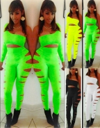 Green Available One Long Sleeve Bandage Sexy Jumsuits