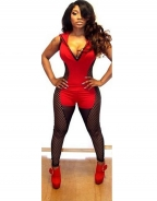 Faux Leather Mesh Matching Hooded Deep-V Neck Sexy Women Jumsuits Red