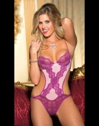 Pink And Purple Lace Edge Cross Front Spaghetti Stap Sexy Lingerie