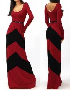 O-Neck Long Sleeves Red And Black Stripes Floor-Length Long Gown Dress