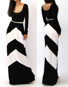 O-Neck Long Sleeves Black And White Stripes Floor-Length Long Gown Dress