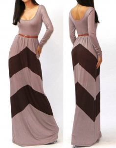 O-Neck Long Sleeves Grey And Black Stripes Floor-Length Long Gown Dress