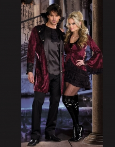 Pure Black Internal T-shirt And Red Embroidery Stand Collar Coat Gotic Vampire Costume