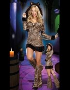 Leopard Printed Long Sleeve Hooded Fur Hem Sexy Cat Costume