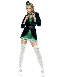 Internal Green Lace Edge Dress And  Outer Coat with Tie Girls Carnival Costumes