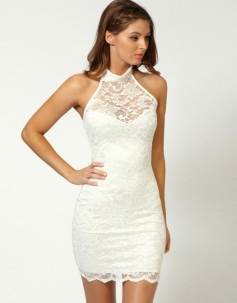 Graceful Halter Design Lace Vintage Party Dress