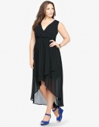 Black Chiffon Sleeveless Long Dress