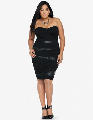 Black Strapless Woman Bodycon Dress