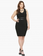 Black Plus Size Sexy V Neck Sleeveless Bodycon Dress