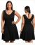 Necklace Tie Black Tight Waist Plus Size Dress