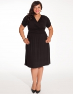 Fashion Coral Ruched Sleeve plus size dress black