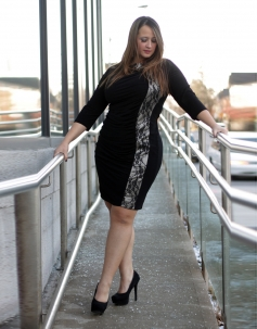 Plus Size Black Sheer Lace Retro Fitted Pencil Cocktail Party Dress