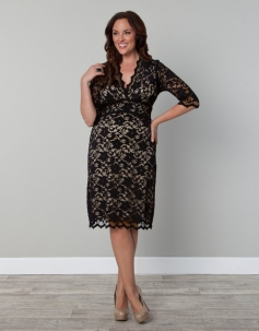 Short Sleeves Sexy V-neck Black Lace Plus Size Dress