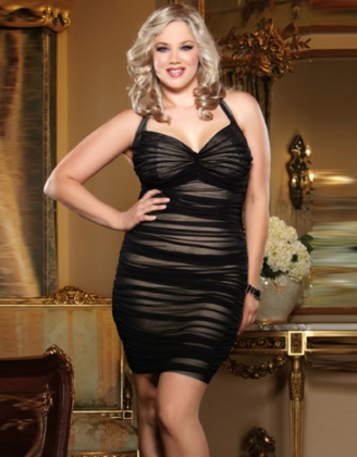 Sleeveless Halter Neck Ruffle Black Plus Size Bodycon Dress