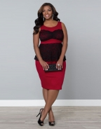Sleeveless With Lace Trim Red Plus Size Peplum Dress