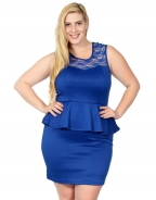New Arrival OL Style Plus Size Peplum Dress