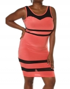 Orange & Black Striped Midi Dress fitted clubwear (Plus Size)
