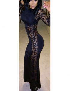 Black White Allure Mermaid Bodycon Evening Gown