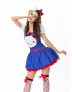 Free Shipping 3 Available Colors Fantasy Sexy Halloween Costumes Classical Hello Kitty Costume