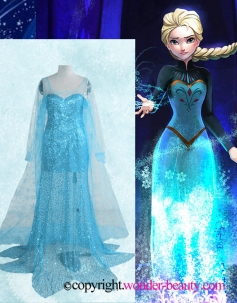 Elsa Princess Blue Sequined Cosplay Costume