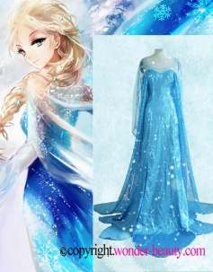 Frozen Princess Girl Queen Elsa Cosplay Costume