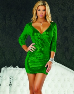 Long Sleeve Sequin Party Dress Green
