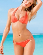 Orange Ruched Embellished with Gold Ring Halter Bikini