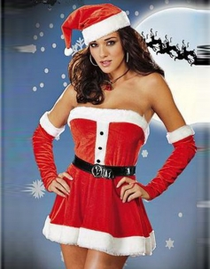 Red Faddish Strapless Chrismas Costume