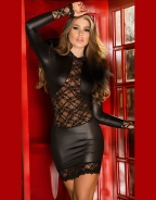 Lace Insert Long Sleeve Club Dress