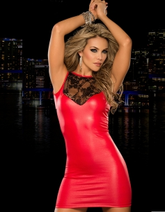 Hollow Out Lace Split Clubwear Party Dress Red
