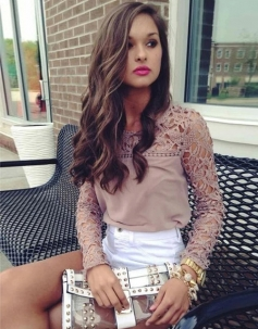 Elegant Lace Embroider Hollow Out Women T-shirt