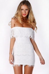 Strapless Lace Prom Mini Dress