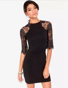 Half-Sleeve Lace Applique Halter Sexy Dress