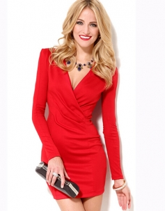 V-neck Long Sleeve Bodycon Dress