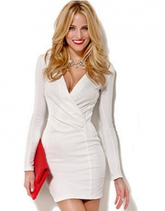 V-neck Long Sleeve Bodycon Dress White