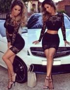Black Lace Skirt Set