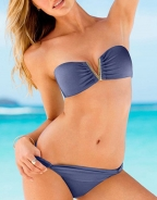 Gold V-shaped Characteristic Pleated Bikini