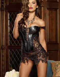 Faux Leather and Venice Lace Corset Bustier