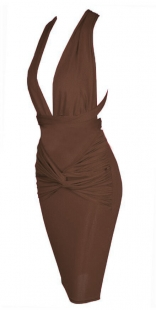 Deep V Jersey Midi Dress Brown