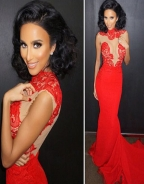Red O-neck Mesh Inserted Nude Evening Dress
