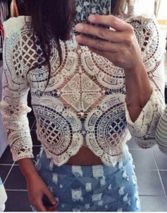 White Embroidery Crochet Lace Crop Top