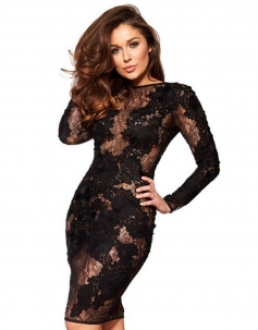 Black Lace Nude Vintage Dress
