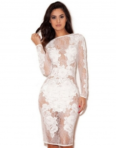 White Lace Nude Vintage Dress