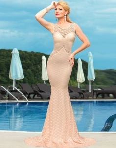 Elegent Lace Bardot Floor-length Evening Party Dress