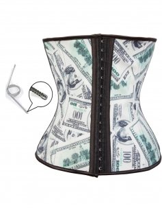 Money Printed Latex Waist Cincher Corsets
